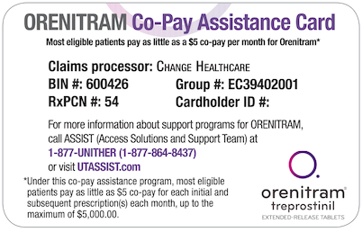 Example of ORENITRAM Co-pay Assistance Card